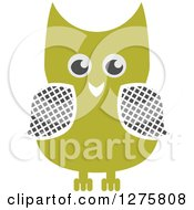 Clipart Of A Happy Green Owl Royalty Free Vector Illustration by Vector Tradition SM