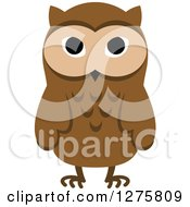 Clipart Of A Standing Brown Owl Royalty Free Vector Illustration