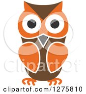 Clipart Of A Brown And Orange Owl Royalty Free Vector Illustration