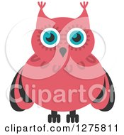 Clipart Of A Blue Eyed Pink And Black Owl Royalty Free Vector Illustration by Vector Tradition SM