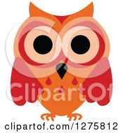 Clipart Of A Red And Orange Owl Royalty Free Vector Illustration