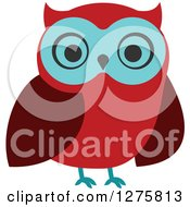 Clipart Of A Red And Turquoise Owl Royalty Free Vector Illustration