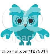 Clipart Of A Turquoise Owl Royalty Free Vector Illustration