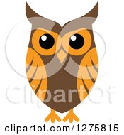 Clipart Of A Brown And Orange Owl 2 Royalty Free Vector Illustration
