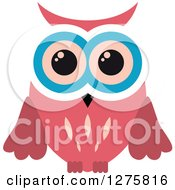 Clipart Of A Pink White And Blue Owl Royalty Free Vector Illustration