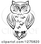 Clipart Of A Black And White Resting Owl 2 Royalty Free Vector Illustration
