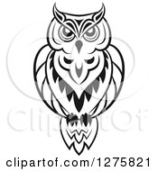 Clipart Of A Black And White Resting Owl 3 Royalty Free Vector Illustration