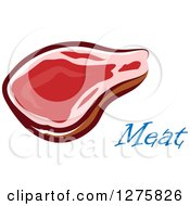 Clipart Of A Beef Steak Over Meat Text Royalty Free Vector Illustration