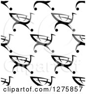 Clipart Of A Seamless Pattern Background Of Black And White Shopping Carts Royalty Free Vector Illustration