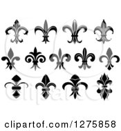 Clipart Of Black And White Lily Fleur De Lis Designs 2 Royalty Free Vector Illustration