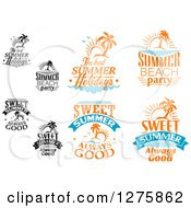 Clipart Of A Summer Time Designs 3 Royalty Free Vector Illustration