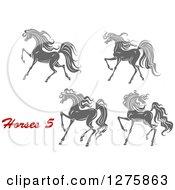 Clipart Of Gray Prancing Horses Royalty Free Vector Illustration
