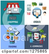 Clipart Of Shopping Order Trading And E Commerce Designs Royalty Free Vector Illustration