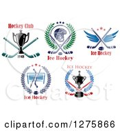 Clipart Of Hockey Sports Designs Royalty Free Vector Illustration