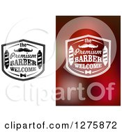 Clipart Of The Premium Barber Welcome Signs With Poles And Mustaches Royalty Free Vector Illustration by Vector Tradition SM