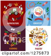Clipart Of Agriculture Grocery Farming And Pastry Designs Royalty Free Vector Illustration