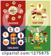 Clipart Of Seafood Fast Food Takeaway And Drinks Designs Royalty Free Vector Illustration by Vector Tradition SM