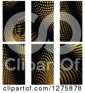 Clipart Of Gold Halftone Business Card Designs On Black 3 Royalty Free Vector Illustration by Vector Tradition SM