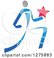 Clipart Of A Blue And Gray Ribbon Person Running With A Star Royalty Free Vector Illustration