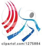Clipart Of A Blue And Gray Ribbon Person With Red Swooshes Royalty Free Vector Illustration