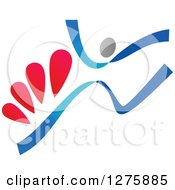 Clipart Of A Blue And Red Ribbon Person Jumping Royalty Free Vector Illustration