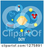 Face With Baby Icons Over Boy Text On Blue