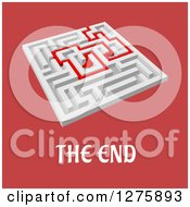 Clipart Of A 3d White Maze With A Red Arrow Leading Through Over Red And The End Text Royalty Free Vector Illustration by Vector Tradition SM