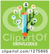 Clipart Of A Pencil With Science Icons And Knowledges Text On Green Royalty Free Vector Illustration