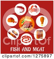 Clipart Of A Plate Of Sea Food In A Circle Of Icons Over Fish And Meat Text On Red Royalty Free Vector Illustration by Vector Tradition SM