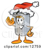 Clipart Picture Of A Garbage Can Mascot Cartoon Character Wearing A Santa Hat And Waving