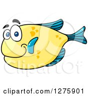 Clipart Of A Happy Chubby Blue And Yellow Marine Fish Royalty Free Vector Illustration