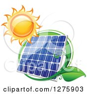 Clipart Of A Shining Sun And Solar Panel Encircled With A Swoosh And Green Leaves 2 Royalty Free Vector Illustration