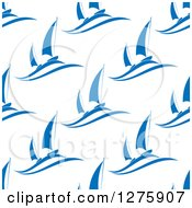 Clipart Of A Seamless Pattern Background Of Blue Sailboats On White Royalty Free Vector Illustration