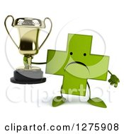 Clipart Of A 3d Unhappy Green Holistic Cross Character Holding A Trophy Royalty Free Illustration