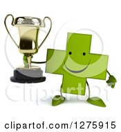 Clipart Of A 3d Happy Green Holistic Cross Character Holding A Trophy Royalty Free Illustration