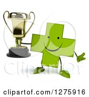 Clipart Of A 3d Happy Green Holistic Cross Character Shrugging And Holding A Trophy Royalty Free Illustration