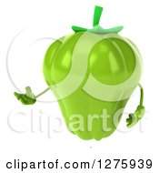 Clipart Of A 3d Green Bell Pepper Character Facing Left And Presenting Royalty Free Illustration
