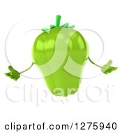 Clipart Of A 3d Green Bell Pepper Character Shrugging Royalty Free Illustration