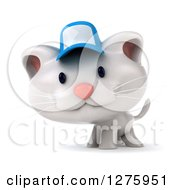 3d White Kitten Wearing A Blue Cap