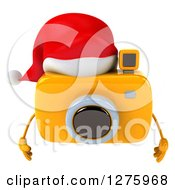 Clipart Of A 3d Christmas Camera Character Pouting And Wearing A Santa Hat Royalty Free Illustration