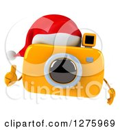 Clipart Of A 3d Christmas Camera Character Holding A Thumb Up And Wearing A Santa Hat Royalty Free Illustration