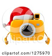 Clipart Of A 3d Christmas Camera Character Wearing A Santa Hat Royalty Free Illustration