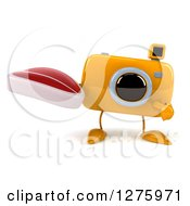 Clipart Of A 3d Camera Character Holding And Pointing To A Beef Steak Royalty Free Illustration