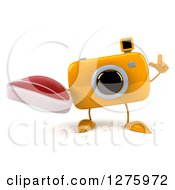 Clipart Of A 3d Camera Character Holding Up A Finger And A Beef Steak Royalty Free Illustration