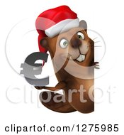 Clipart Of A 3d Christmas Beaver Holding A Euro Symbol Around A Sign Royalty Free Illustration by Julos