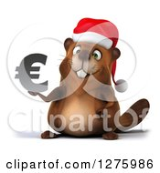 Clipart Of A 3d Christmas Beaver Holding A Euro Symbol Royalty Free Illustration by Julos