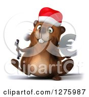 Clipart Of A 3d Christmas Beaver Walking With A Wrench And Euro Symbol Royalty Free Illustration by Julos