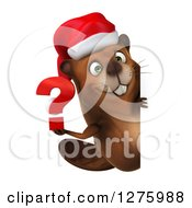Clipart Of A 3d Christmas Beaver Holding A Question Mark Around A Sign Royalty Free Illustration by Julos