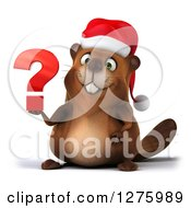 Clipart Of A 3d Christmas Beaver Holding A Question Mark Royalty Free Illustration by Julos