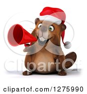 Clipart Of A 3d Christmas Beaver Announcing With A Megaphone Royalty Free Illustration by Julos
